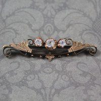 Antique Victorian 1800s Mine Cut Paste Etched Gold Tone Bar Brooch