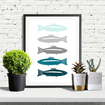 8x10 Blue Nursery Print Teal Nursery Animal Prints Nursery Decor Teal Fish Print Fishes Poster  Teal Blue Nursery Poster Modern Wall Art
