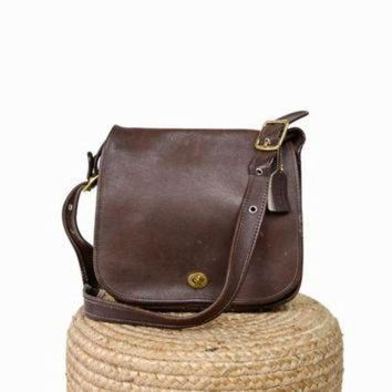 Vintage Coach Classic Stewardess Bag in Brown Leather