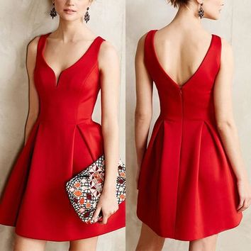 Red Plain Backless Pleated Zipper Plunging Neckline Sleeveless Mini Dress
