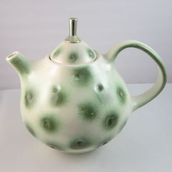 Royal Haeger Pottery Dimpled Teapot R 1584 S Mid Century Modern Eames Era