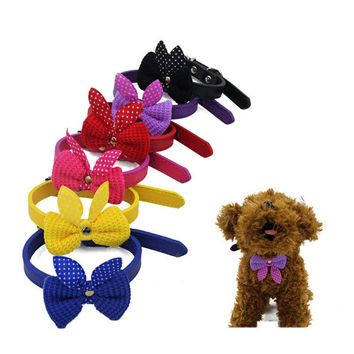 Knit Bowknot Adjustable Leather Dog Puppy Pet Collars Necklace Collars For Dogs Cat collar perro Size XS S