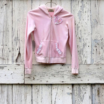 Heart Me Hoodie upcycled pink velour warm up jacket eco romantic teen Juicy Couture valentines day gift present