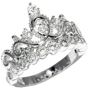 JewelsObsession's 14K Gold Princess Crown Diamond Ring