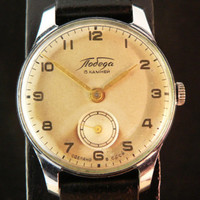 Vintage classic Pobeda watch russian watch ussr cccp, rare dial