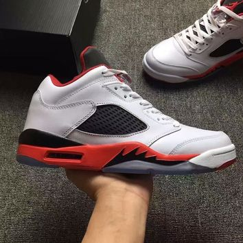 Nike Air Jordan 5 Retro Low White/Red/Black Leather Sneaker US5.5-12