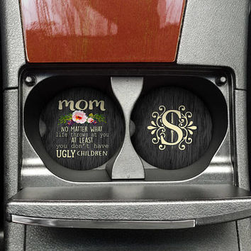 Ugly Children Mothers Day Cup Holder Coaster, Mothers Day Car Coaster, Funny Mothers Day Gift (CAR0005)
