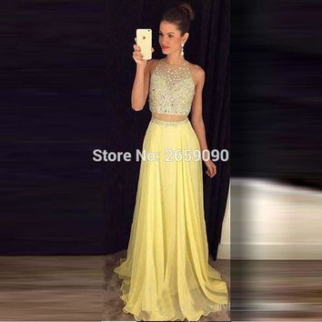A-Line Tulle 2 pieces Prom Dress 2017 Sparkling Beaded Sequins Long Evening gown Vestidos De Festa Pageant Dresses l1420