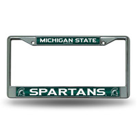 Michigan State Spartans NCAA Bling Glitter Chrome License Plate Frame
