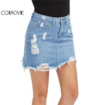 COLROVIE Casual High Wasit Denim Skirt Blue Light Wash Women Distressed Mini Pencil Skirt 2017 Sexy Ripped 5 Pocket Summer Skirt