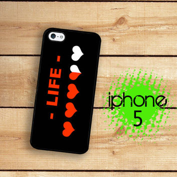 8 Bit Video Game Heart Meter iPhone 5S Case | iPhone 5 Hard Case For iPhone 5 Life Meter Plastic or Rubber Trim