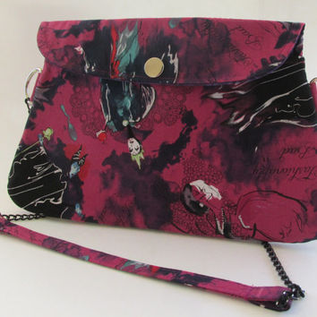 Disney Villains Clutch Purse with Chain Strap / Maleficent / Cruella De Vil / Evil Queen