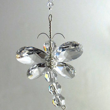 Dragonfly Ornament Swarovski Crystal Suncatcher Window  Charm Rear View Mirror Birthday Gift Idea Nursery Decor Whimsical Kid Gift Baby Room
