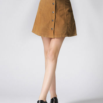 Khaki Button Front Mini Skirt