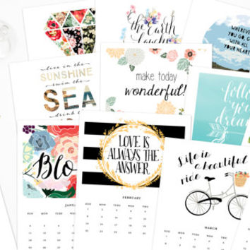 Printable Calendar 2015, Inspirational quotes printable wisdom calendars, quote art print, month year digital DIY desk calendar illustration