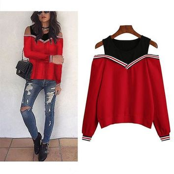 Red Plain False 2-in-1 Cut Out Round Neck Fashion Pullover Sweatshirt