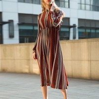 Fashion Long Sleeve Geo Printed Chiffon Midi Dress - NOVASHE.com