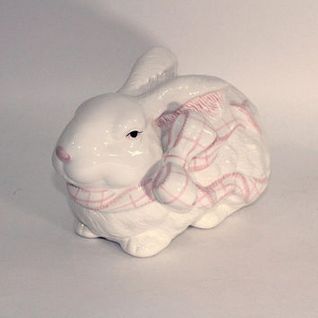 Large Ceramic Rabbit | Easter Rabbit for Centerpiece , Basket , or Arrangement | Pink and White China Bunny with Pink Bow | Crouching Rabbit