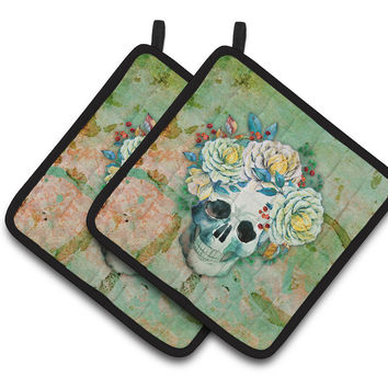 Day of the Dead Skull with Flowers Pair of Pot Holders BB5124PTHD