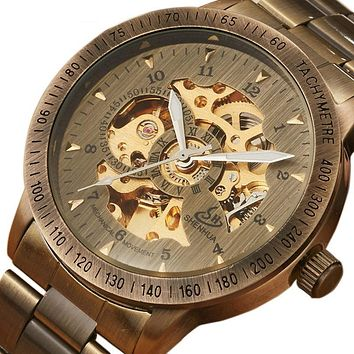 Steampunk Skeleton Watches Mens Automatic Retro Bronze Stainless Steel Series Vintage Mechanical Wrist Watch Luxury Self-wind