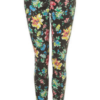 MOTO Floral Printed Leigh - Jeans - Clothing - Topshop