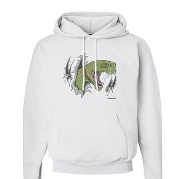 Green Dinosaur Breaking Free Hoodie Sweatshirt  by TooLoud