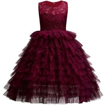 New Year style 3-14 year Girls children princess dress sweet Elegant lace banquet dress