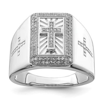 925 Sterling Silver Rhodium Plated Diamond Cross Men's Ring