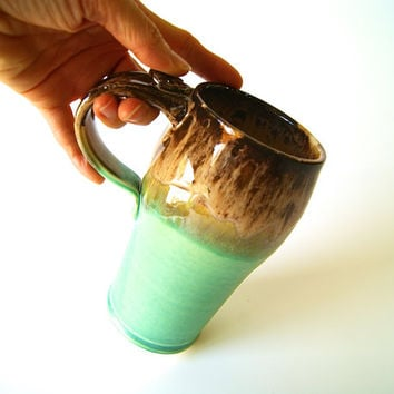 MADE TO ORDER...One 16 oz. Travel Mug, Coffee Cup, Handmade, Wheel Thrown, Pottery, in Green and Brown by RiverStone Pottery