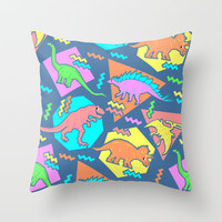 Nineties Dinosaur Pattern Throw Pillow by chobopop | Society6