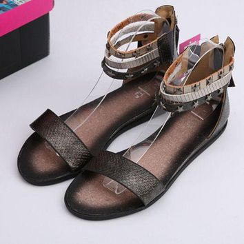 A & Y SHOP Women Summer Fashion Rome Flat Ankle Strap Sandal Slipper Shoe