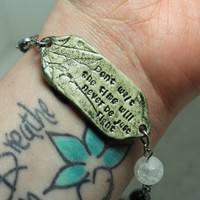 Mantra bracelet Don't wait the time will never be just right Quote jewelry 8inch