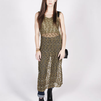 Vintage 90s Olive Green Beaded Floral Maxi Dress Sz S