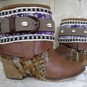 Size 8 Boho Boots Southwestern Upcycled Bohemian Gypsy Hippie Booties