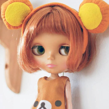 Blythe Pullip Dal Doll Dress Clothe Outfit - *Limted Edition* Little Rilakuma Jumpsuit & Headband Set (Brown)
