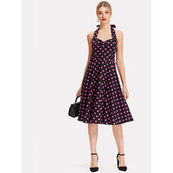 Knot Back Polka Dot Halter Dress