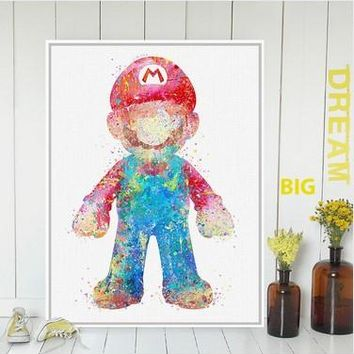 Original Watercolor Super Mario Japanese Game Poster Print  Abstract Picture Kids Room Wall Art Decor Canvas Painting No Frame
