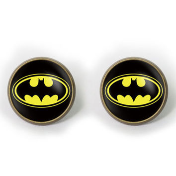 Handmade superhero Batman earrings superhero Batman post earring superhero Batman arrings Jewelry, Gift