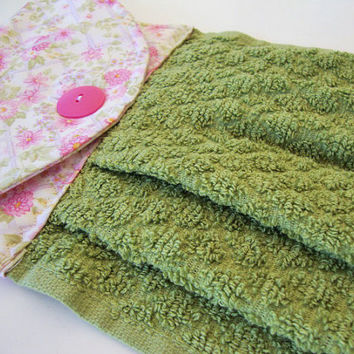 Button-Top Dish Towel - Quilted Hanging Kitchen Towel - Green and Pink Floral Towel - Custom Kitchen Towel - Decorative Towel