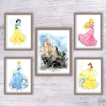 Disney princess set and castle Snow white Disney watercolor print Kids room wall art hangings Baby shower gift Nursery room decoration V193