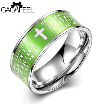 Men's Lord's Prayer Stainless Steel Lime Green Mens Wedding Band