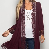 Lace Trim Cardigan - Wine