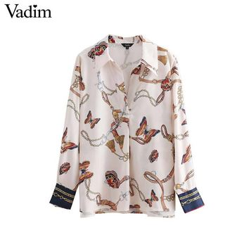 Vadim women stylish chains butterfly print blouses long sleeve pleated shirts fashion female casual chic tops blusas LA357