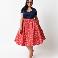 Hell Bunny Plus Size 1950s Red Nautical Marin High Waist Sailor Swing Skirt - Plus Size - Clothing   Unique Vintage