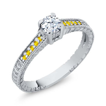 Round White Topaz Yellow Sapphire 925 Sterling Silver Engagement Ring