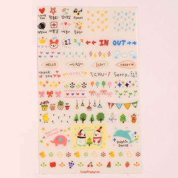 New Cute Lovely 6 Sheet Paper Stickers for Diary Scrapbook Book Wall Decor for decoration*Cartoon stickers