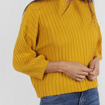 Ribbed Sweater, Mustard