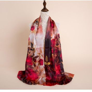 Double Sided Satin Silk Scarf for Women Ponchos