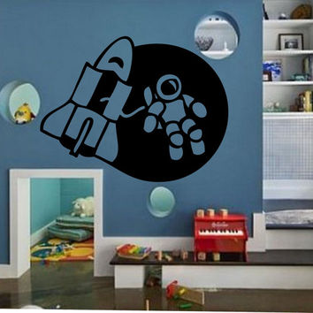 Kids Space Wall Decal Vinyl Sticker Art Decor Bedroom Design Mural interior design man universe stars planets boys room kids room