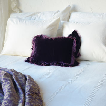 Loulah Boudoir Throw Pillow with Raw Edge Self Ruffle in AMETHYST